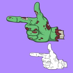 Pointing finger.zombie hand style. Halloween decoration