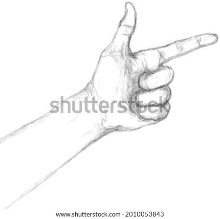 Pointing hand. Index finger.Hand imitating a pistol.vector illustration.vector sketch of a hand with a forefinger.hand drawing Foto stock ©