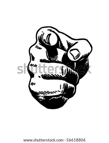 Pointing Hand - Retro Clip Art