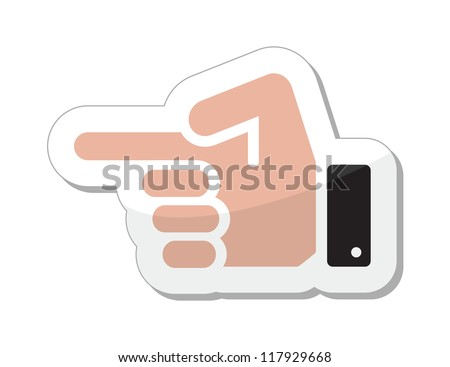 Pointing hand vector icon as label