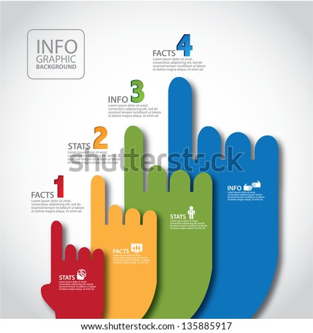 Infographic Ideas easy infographic template : Pointing Hands Infographic Template. Eps 10 Vector, Grouped For ...