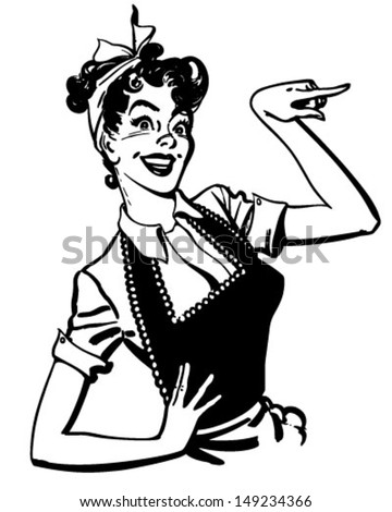 Pointing Housewife - Retro Clip Art Illustration