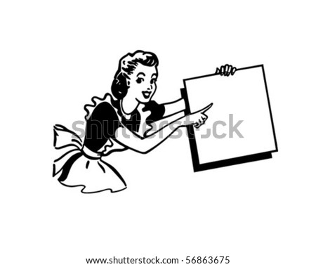 Pointing Lady - Presenter - Retro Clip Art