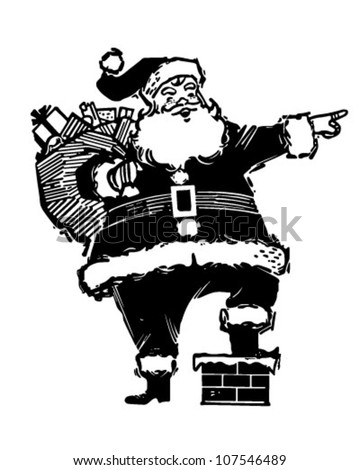 Pointing Santa - Retro Clipart Illustration