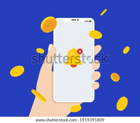 Points will be presented when receiving mobile apps illustration set. coin, shop, hand, dollar. Vector drawing. Hand drawn style.