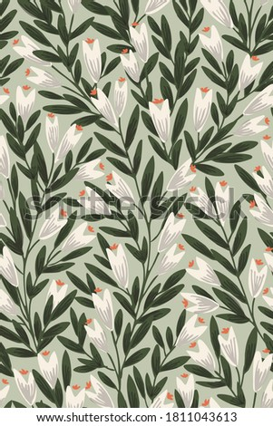 Pointy flower ever-growing garden seamless vector pattern. Pretty white flowers with green lush leaves on mint green background. Great for home decor, fabric, wallpaper, stationery, design projects.  ストックフォト ©