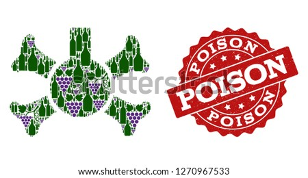 Poison flask composition of alcohol bottles and grape and grunge stamp seal. Isolated vectors in green and purple colors on a white background for bars, alcohol shop banners, ads, concepts.