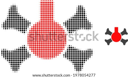 Poison flask halftone dotted icon illustration. Halftone pattern contains circle elements. Vector illustration of poison flask icon on a white background. Flat abstraction for poison flask pictogram.
