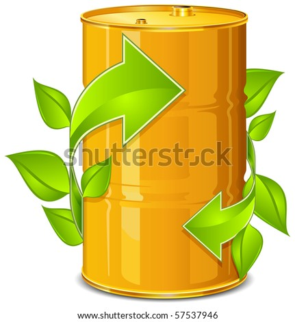 Poison metal barrel with arrow on white background, vector illustration