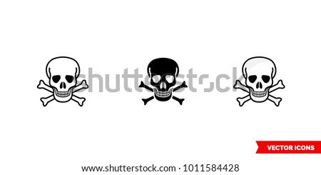 Poison sign skull and crossbones icon of 3 types: color, black and white, outline. Isolated vector sign symbol. Foto stock ©