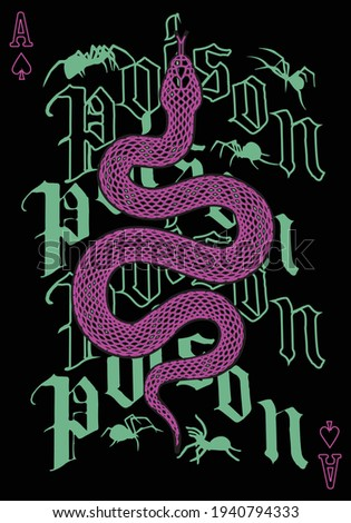 Poison t-shirt print design with snake and spider illustration