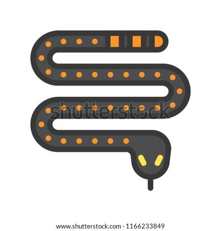 poisonous snake, Halloween character icon set, editable stroke