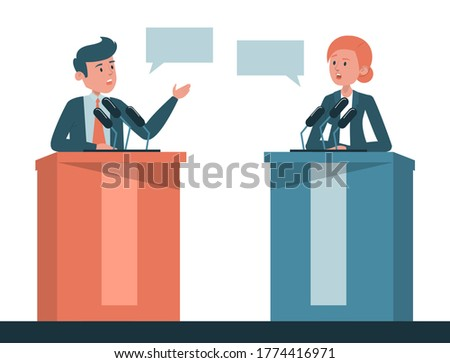 Poitical debate vector isolated. Two candidates on discussion,presidential election in USA. Man and woman at the microphone on tribune. Foto stock ©