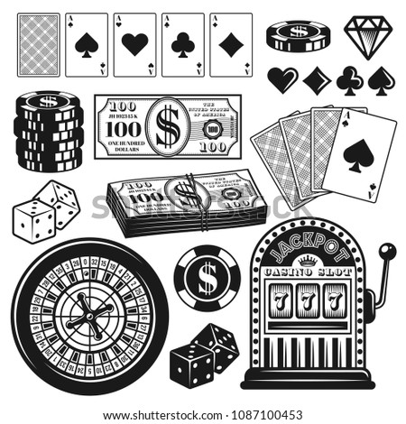 Poker and casino set of gambling objects, design elements vector illustration in vintage monochrome style isolated on white background