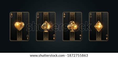 Poker card ace metallic black and gold texture shining poker cards Сток-фото ©