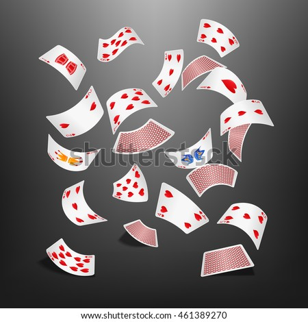 poker card heart scattered