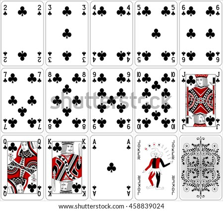 poker cards club set two color