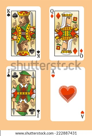 Poker cards featuring the three figures and the ace of hearts.