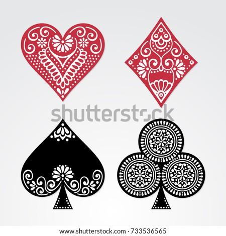 Poker cards full set four color classic design