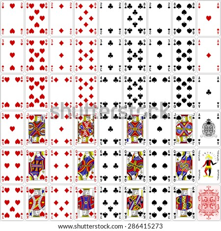 poker cards full set four color