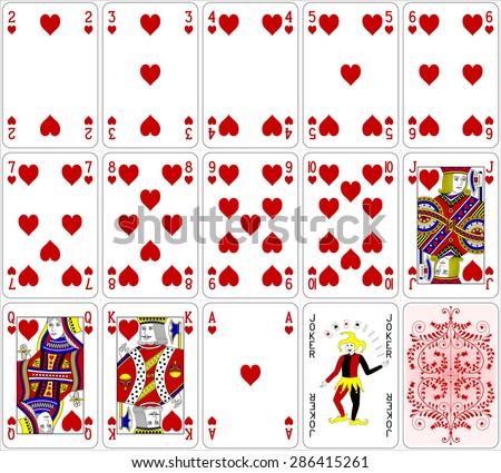 poker cards heart set four