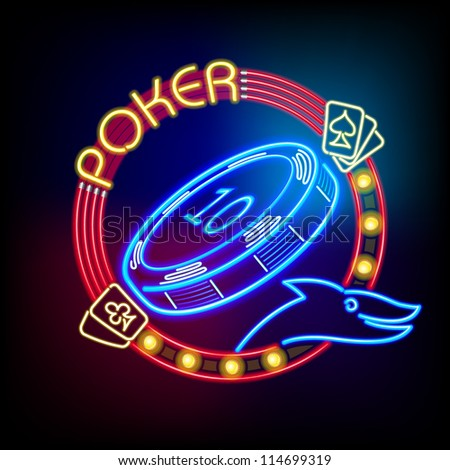 Poker casino token in neon light