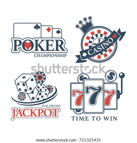 Poker championship at casino isolated promotional emblems set