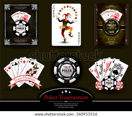 Poker chip.Casino background.Vip.Vintage style and Poker Tournament label. Joker. King. Ace. Royal flush