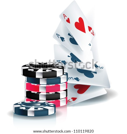 poker chips and playing cards isolated