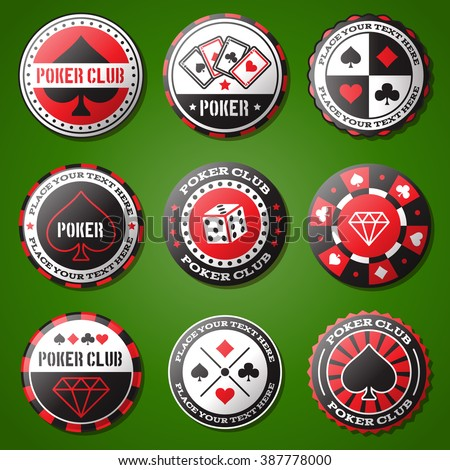 poker chips icons set  casino...