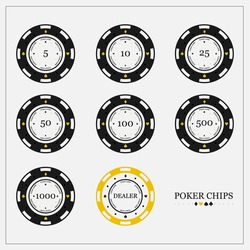 Poker chips in flat style. The value 5,10,25,50,100,500,1000. Dealer