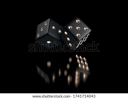 Poker dice. View of golden white dice. Casino gold dice on black background. Online casino dice gambling concept isolated on black. Photo stock ©
