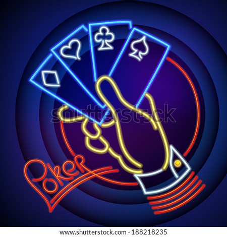 Poker Illustration Hand Holding Playing Cards in Neon Light