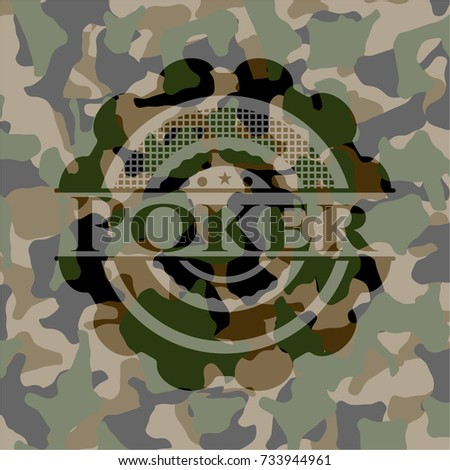 poker on camouflaged pattern