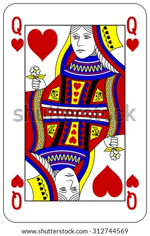 Queen Of Hearts Playing Card Template Deck Cards Clipart 31 Vectors