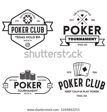 Poker related labels emblems badges design elements set. Texas holdem poker club tournament logotype collection. Vector vintage illustration.