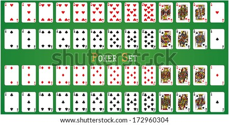 Poker set with isolated cards on green background
