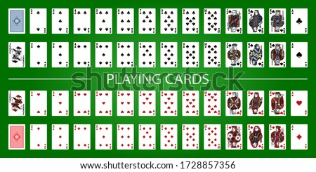 Poker set with isolated cards on green background. Poker playing cards, full deck. Zdjęcia stock ©