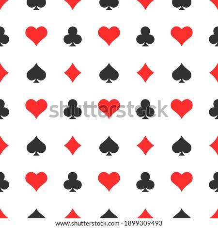 Poker suits seamless pattern background. Casino elements vector illustration. Zdjęcia stock ©