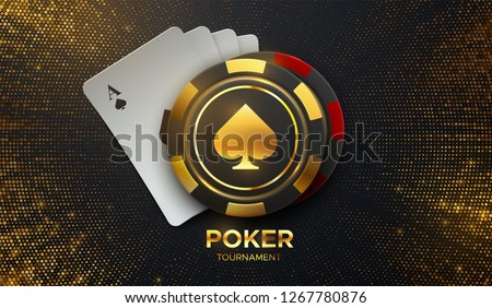 Poker tournament. Vector illustration. Four playing cards with gambling chips on black background with shimmering glitters. Casino banner concept.