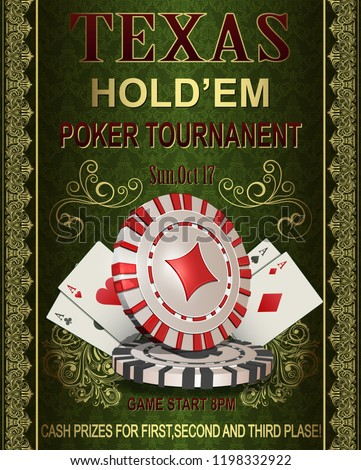 Poker Tournament vintage poster.Vector illustration.