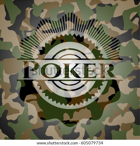 poker written on a camouflage