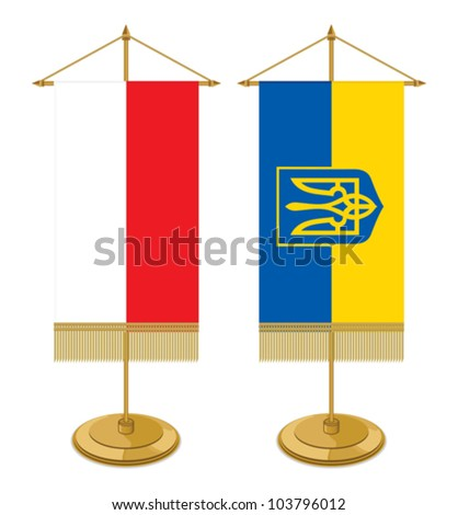 Poland  and Ukraine table flag isolated on white