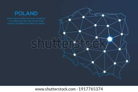 Poland communication network map. Vector low poly image of a global map with lights in the form of cities. Map in the form of a constellation, mute and stars Photo stock ©