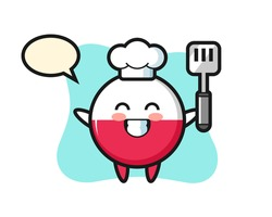 Poland flag badge character illustration as a chef is cooking, cute style design for t shirt, sticker, logo element