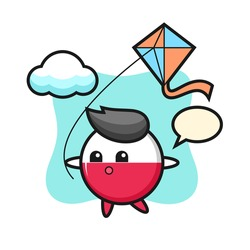 Poland flag badge mascot illustration is playing kite, cute style design for t shirt, sticker, logo element