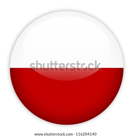 poland flag button on white