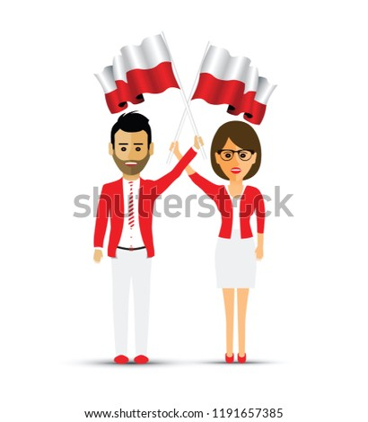 Poland flag waving man and woman
