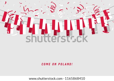 Poland garland flag with confetti on gray background, Hang bunting for Poland celebration template banner. vector
