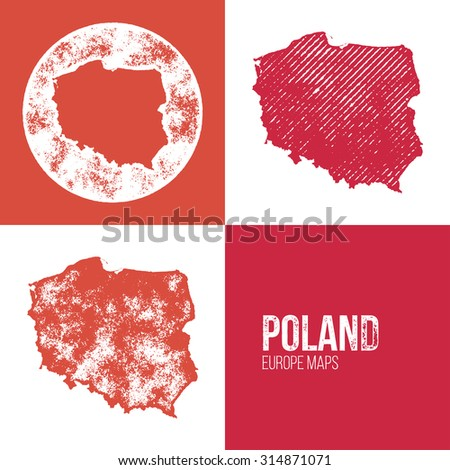 Poland Grunge Retro Map - Three silhouettes Poland maps with different unique letterpress vector textures - Infographic and geography resource #314871071